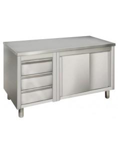 Szafka kabinet z szufladami 180 cm z szufladami i blatem roboczym ze stali nierdzewnej