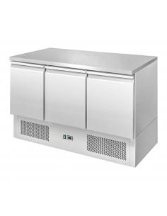 Stół chłodniczy 140x70 cm 3 drzwiowy z blatem roboczym w całości ze stali nierdzewnej